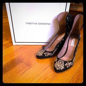 Tabitha Simons Black & Gold Wrap heels
